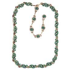 36675a - Vintage Hollycraft 1954 Green Emerald Tear Drop & Chaton Stones Necklace