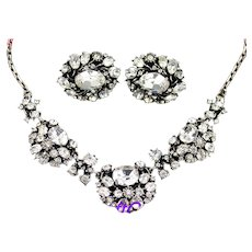 36684a - Hollycraft 1951 Clear Crystal & Oval Shape Stones Necklace & Earrings