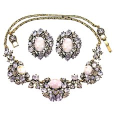 36706a - Hollycraft 1951 Lavender Stones & Lavender Opal Necklace & Earrings Set