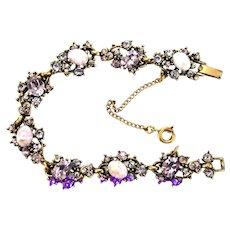 36720a - Vintage Hollycraft 1951 Lavender Stones & Opal Lavender Cab Bracelet