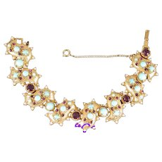 36770a - HOLLYCRAFT 1951 Turquoise Cabs Amethyst Stones & Faux Pearls Bracelet