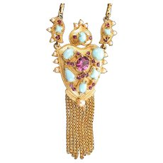 36777a - HOLLYCRAFT 1951 Turquoise Cabs Amethyst Stones & Pearls Necklace w/Fringes