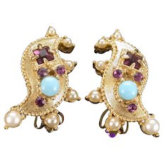 36783a - HOLLYCRAFT 1951 Turquoise Cabs Amethyst Stones & Faux Pearls Earrings