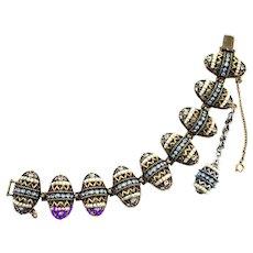 36827a - Hollycraft 1954 Light Blue & Seed Pearls Easter Eggs Charm Bracelet