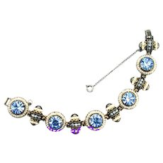 36832a - HOLLYCRAFT 1954 5 Circles & 5 Barrels Light Blue Stones & Pearl Bracelet