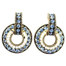 36859a - Sgnd Hollycraft 1954 Light Blue Stones & Faux Pearls Screw-On Earrings