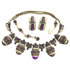 36892a - HOLLYCRAFT 1954 Purple Stones & Seed Pearls Necklace/ Hoops Earrings