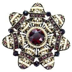 36957a - Not Signed HOLLYCRAFT 1954 Egg Shape Red & Seed Pearls Huge Pinwheel Brooch