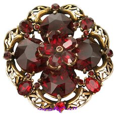 33695a - Signed Hollycraft 1952 Dark Red Color Huge Round Stones Pin