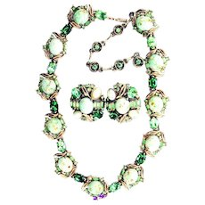 36984a - Signed HOLLYCRAFT 2 Tones Of Green Stones & Opal Cabs Collar & Earrings Set