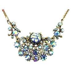37065a - HOLLYCRAFT 1958 Blue Cat's Eyes & Starlight AB Stones Necklace
