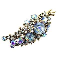 37083a - HOLLYCRAFT 1958 Blue Cat's Eyes & Blue AB Rhinestones Leaf Brooch