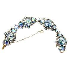 37087a - HOLLYCRAFT 1958 Blue Cat's Eyes & Blue AB Rhinestones Wide Bracelet