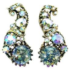 37126a - HOLLYCRAFT 1958 Blue Cat's Eye & Blue AB Stones Long Clips Earrings