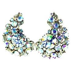 37133a - HOLLYCRAFT 1958 Blue Cat's Eye & Blue AB Huge Clips Earrings