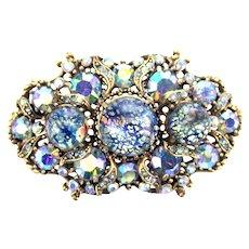 37143a - HOLLYCRAFT 1958 Blue Cat's Eyes & Blue AB/Starlight Stones Brooch