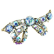 37152a - HOLLYCRAFT 1958 Blue Cat Eyes & Blue AB Huge Bow Brooch