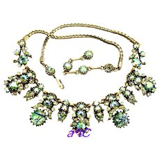 37168a - HOLLYCRAFT 1958 Green Cat's Eyes & Green AB & Starling Stones Necklace
