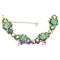 37183a - HOLLYCRAFT 1958 Green Cat's Eyes & Green AB Rhinestones Wide Bracelet
