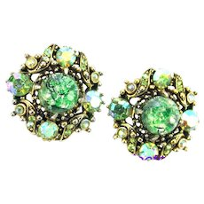37213a - HOLLYCRAFT 1958 Green Cat's Eye & Green AB Round Clips Earrings