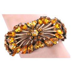 37241a - Hollycraft 1958 Topaz Rhinestones Double Hinged Bracelet on Copper