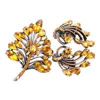 37249a - Hollycraft 1958 Topaz Stones Copper Tone Brooch & Earrings Set