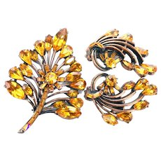37249a - Hollycraft 1958 Topaz Stones Copper Tone Brooch & Earrings Set