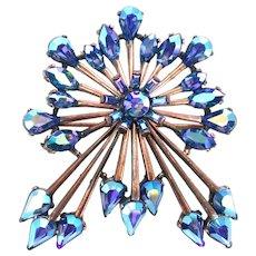 37252a -  Hollycraft 1958 Blue AB Rhinestones Leaf Brooch/Pin on Copper Tone