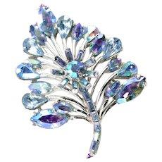 37266a - Hollycraft 1958 Blue AB Rhinestones Leaf Shaped Brooch/Pin