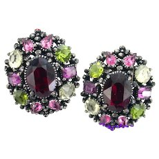 37269a - Hollycraft 1954 Purple Green Rose Red Yellow Huge Clip Back Earrings