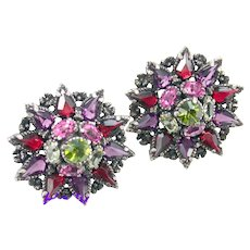 37272a - Hollycraft 1954 Purple Green Rose Red Yellow Star Shaped Clip Earrings