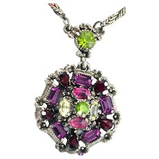 37275a - Signed Hollycraft 1954 Purple Green Rose Red Yellow Necklace - Pendant