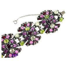 37302a - Hollycraft 1954 Purple Green Rose Red Yellow Extra Wide Bracelet