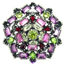 37305a - Hollycraft 1954 Purple Green Rose Red Yellow Pentagone Shape Brooch