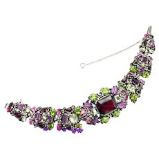 37314a - Signed Hollycraft 1954 Purple Green Rose Red Yellow Bracelet 2 die 4