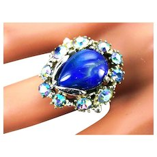 37337a - HOLLYCRAFT 1959 Light Blue AB Stones & Blue Opal Cabochon Ring