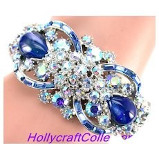 37348a - Hollycraft 1959 Light Blue AB & Blue Opal Double Hinged Bracelet