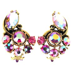 37378a - Hollycraft 1959 Red/Pink/Light Pink/Pink AB/Red AB Small Clips Earrings