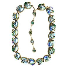 37426a - Hollycraft 1959 3 Shade Greens/Blue/Green AB Stones Necklace/Dog Collar