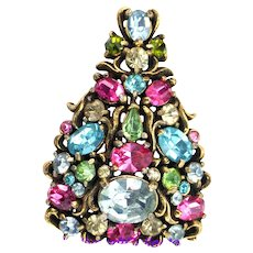 37441a - Hollycraft Christmas Tree Pin - Multi Pastel Color Brooch Dated 1950