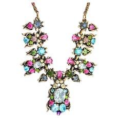 37471a - HOLLYCRAFT 1950 Multi Color Pastel Rhinestones Necklace