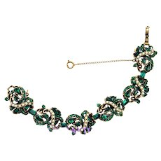 37481a - Hollycraft 1953 Emerald Green Stones & Pearls 6-Section Bracelet