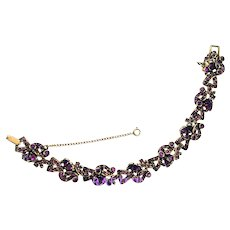 37495a - Hollycraft 1954 Purple Tear Drop & Chaton Rhinestones Bracelet