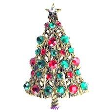 37529a - Hollycraft Christmas Tree Pin - Tee Pee Tree Red & Green Stones