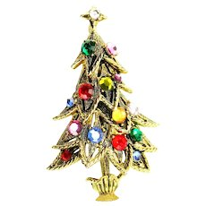 37535a - Hollycraft Christmas Tree Pin - Four Tiers Multi Color Rhinestones