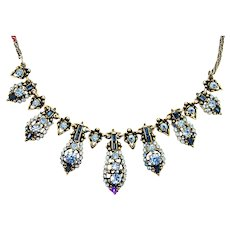 37553a - Hollycraft 1955 Light Sapphire Color Rhinestones Necklace