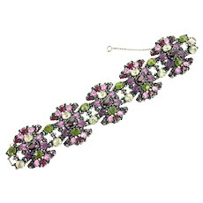 37587a - Hollycraft 1954 Purple Green Rose Red Yellow Extra Wide Bracelet