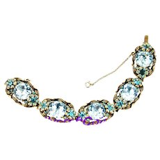 37596a - Hollycraft 1954 Aqua/Teal Color Stones Flower 5 Section Big Bracelet