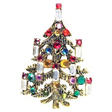 37676a - HOLLYCRAFT 8 Candles Christmas Tree Pin/Brooch