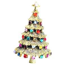 37694a - Hollycraft Pagoda Style Christmas Tree Pin Multi Color Rhinestones